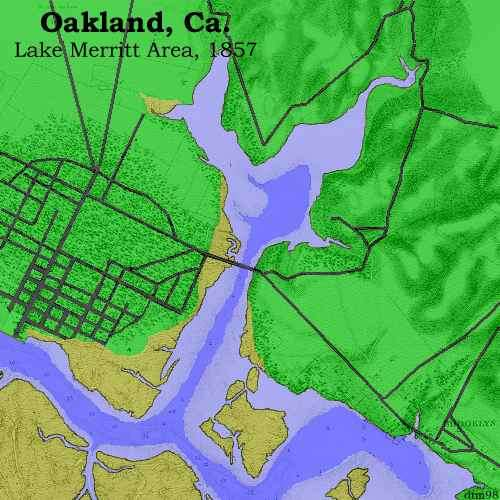 map of lake merritt Guide To Oakland History The Sites Lake Merritt In 1857 map of lake merritt